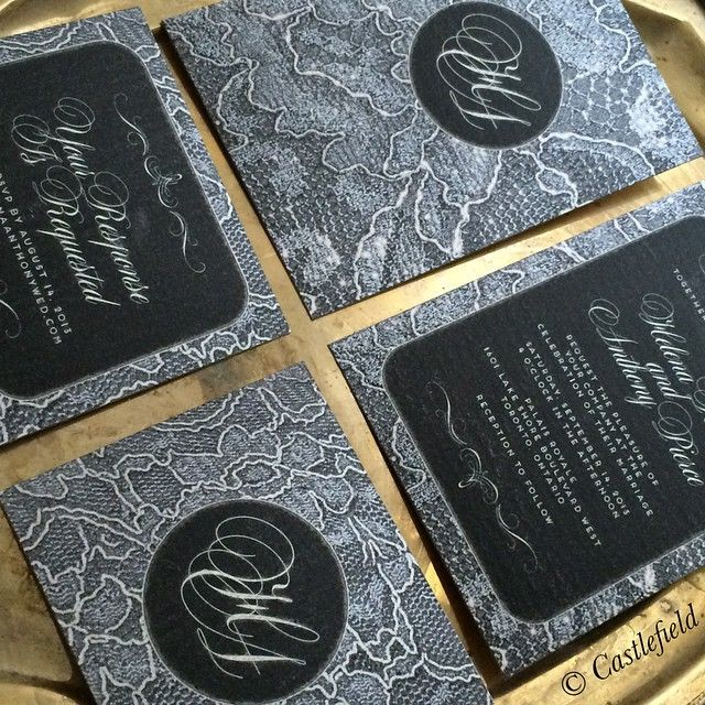 #Castlefield black and #silver #lace pattern #invites. More #designs on www.castlefield.co! ✨✉️ // Castlefield Bridal Company by Sophie Taylor • Luxe Wedding Invitation and Stationery Design // #bridal #stationery #bride #wedding #weddings #invites #invitations #suite #luxe #luxury #whimsical #refined #elegant #glamorous #toronto #design #pretty #custom #fashion #couture #bespoke #weddinginvitations #branding #weddinginspiration #hochzeit #einladungen