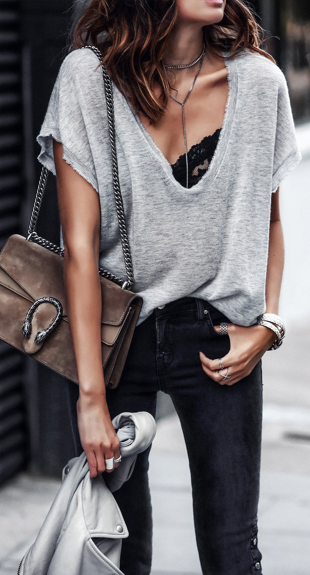 811f06f14a872 Casual Wear. Black Trousers. Hipster Fashion ·  fall  outfits   gray deep v  neck knit + bralette Outfit Jeans