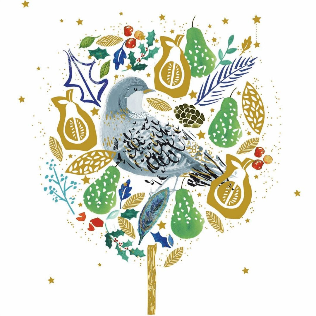 A partridge in a (golden) pear tree... lush, glittered charity ...