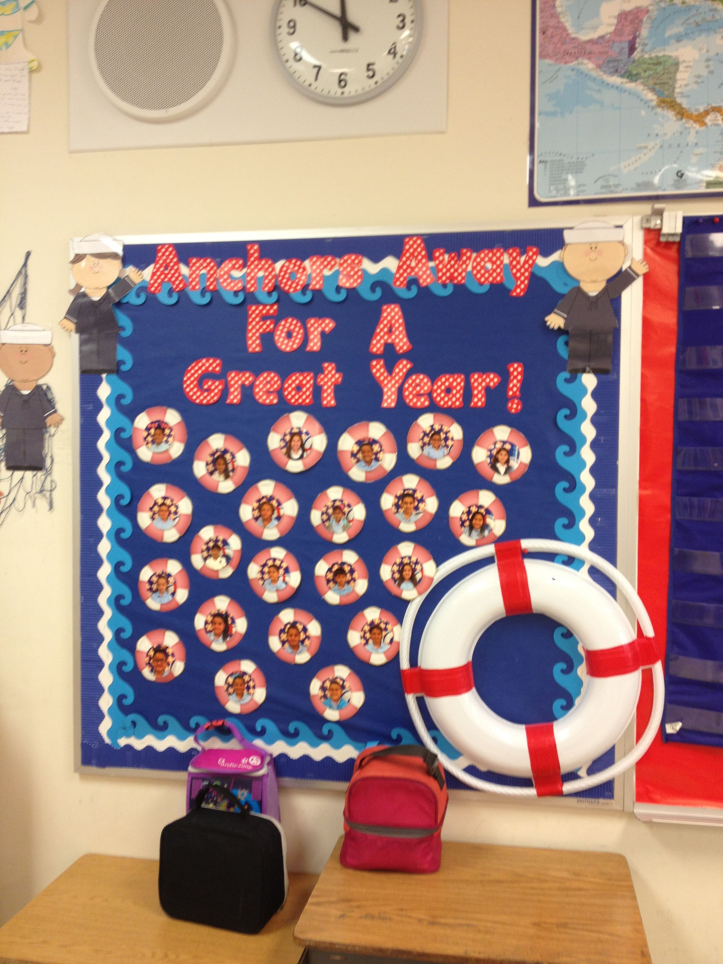 Nautical Theme Classroom Bulletin Board With Students Pictures At