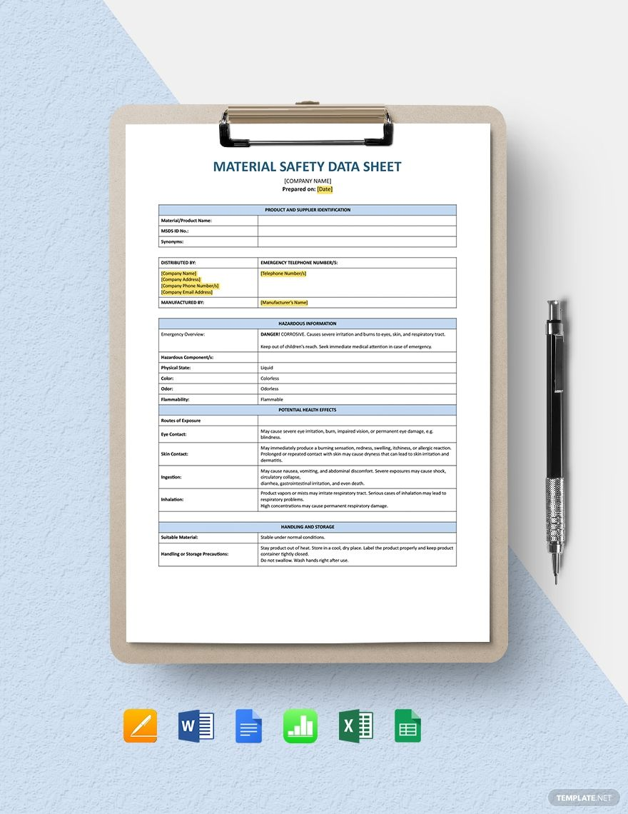 Material Safety Data Sheet Template in 2020 Data sheets