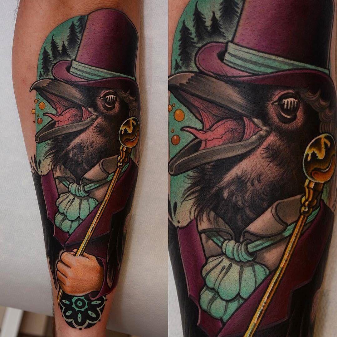 Raven Gentleman By Blackmagicjake At Malmo Classic Tattoo In Malmo Sweden Raven Bird Classy Gentleman Sophisticated Classic Tattoo Tattoos Color Tattoo