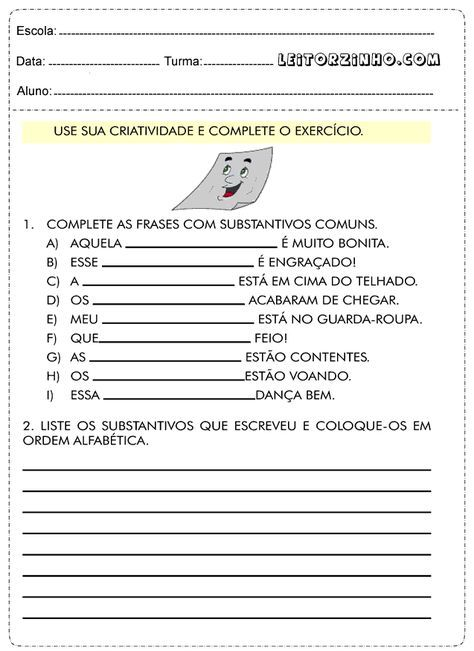 Complete As Frases Com Substantivos Comuns Substantivos Comuns E