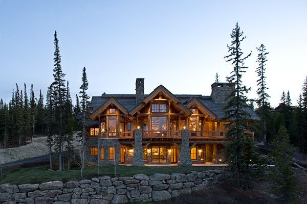 Big sky montana log home retreat custom log homes for Large luxury log homes