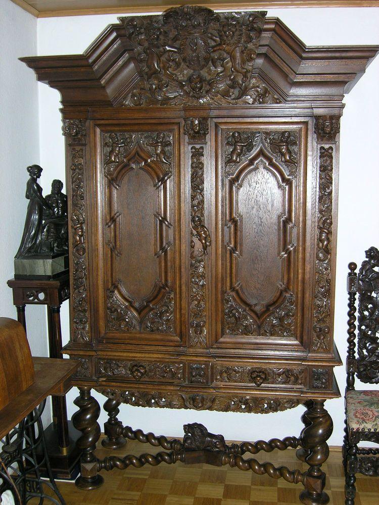herrschaftlicher antiker schrank danziger barock eiche massiv east prussia. Black Bedroom Furniture Sets. Home Design Ideas