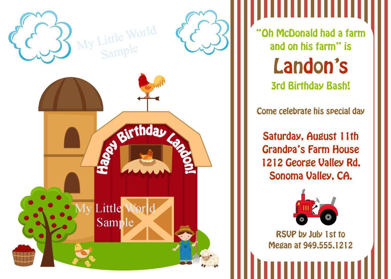 Farm Birthday Invitations Ideas For James Animal Birthday Invitation Farm Birthday Invitation Farm Animal Birthday