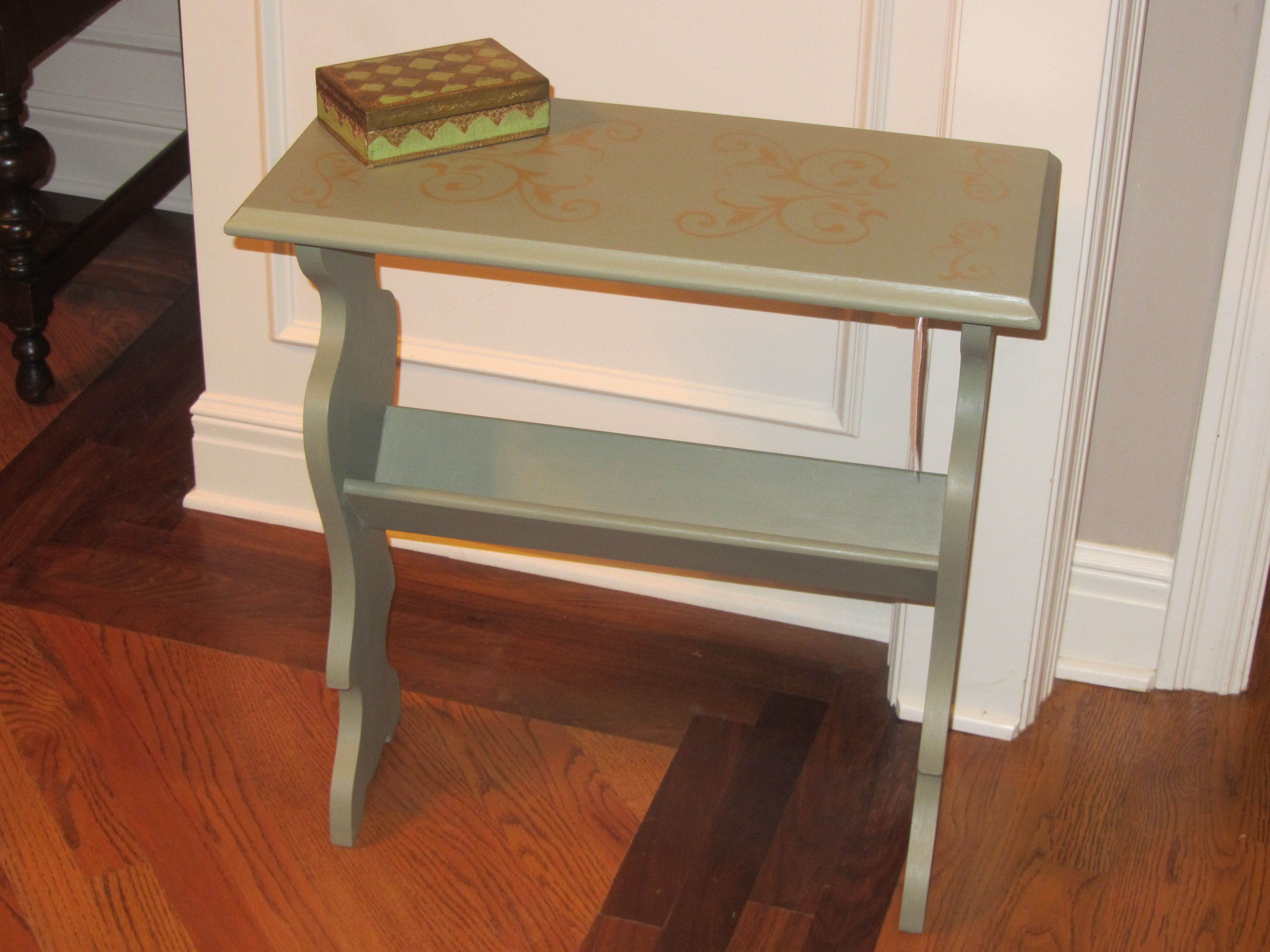 lovely book stand table painted in annie sloan chateau grey and