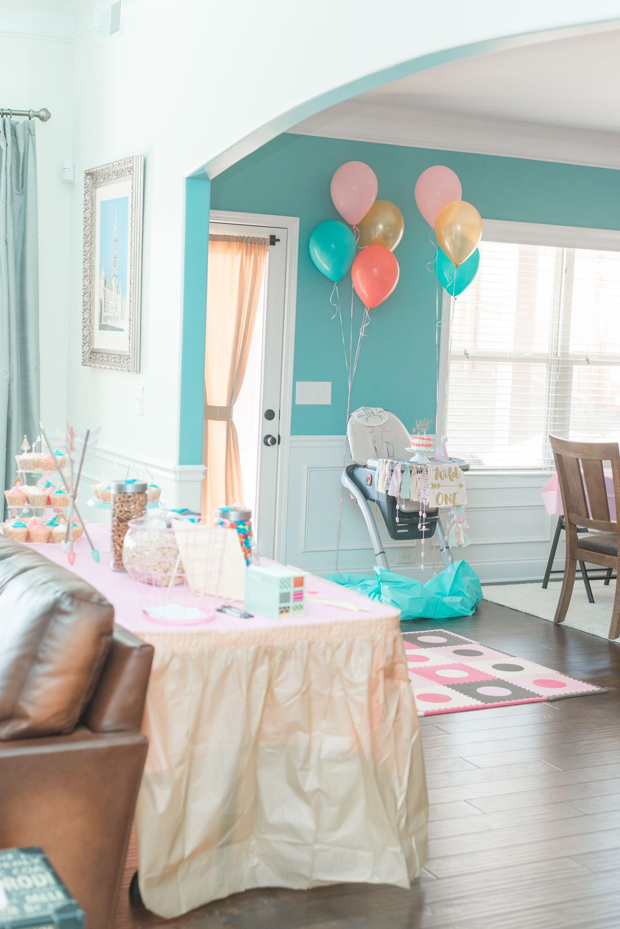 Wild One Birthday Party For A Little Girl Teal Blush Light Pink And