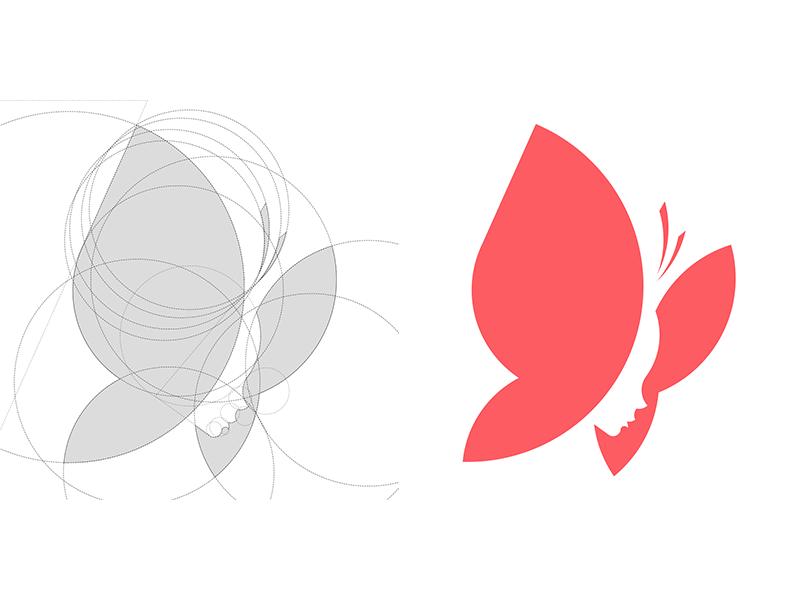 butterfly girl logo grid shape pinterest logo design logos