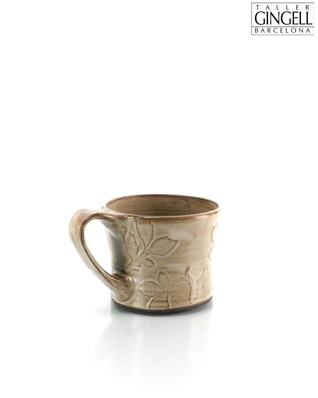 Large black clay mug, 10 cm (3 1/4
