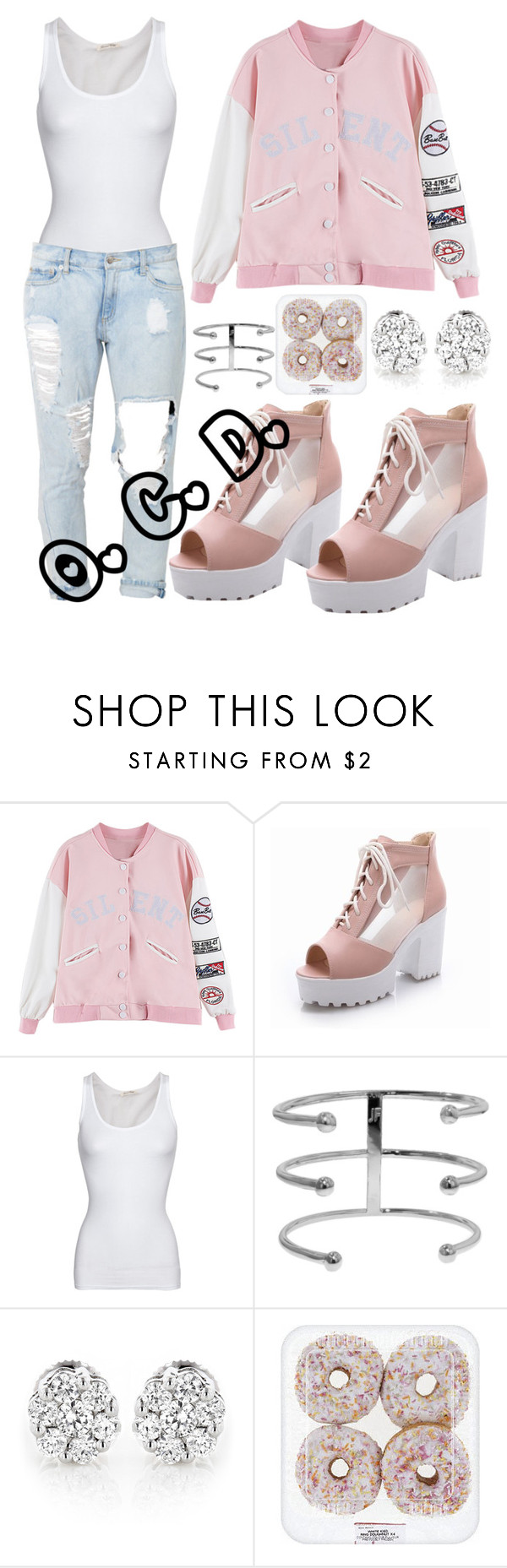 """Silent Pink."" by oreocaker ❤ liked on Polyvore featuring American Vintage, Jennifer Fisher, contestentry, laceupsandals and PVStyleInsiderContest"