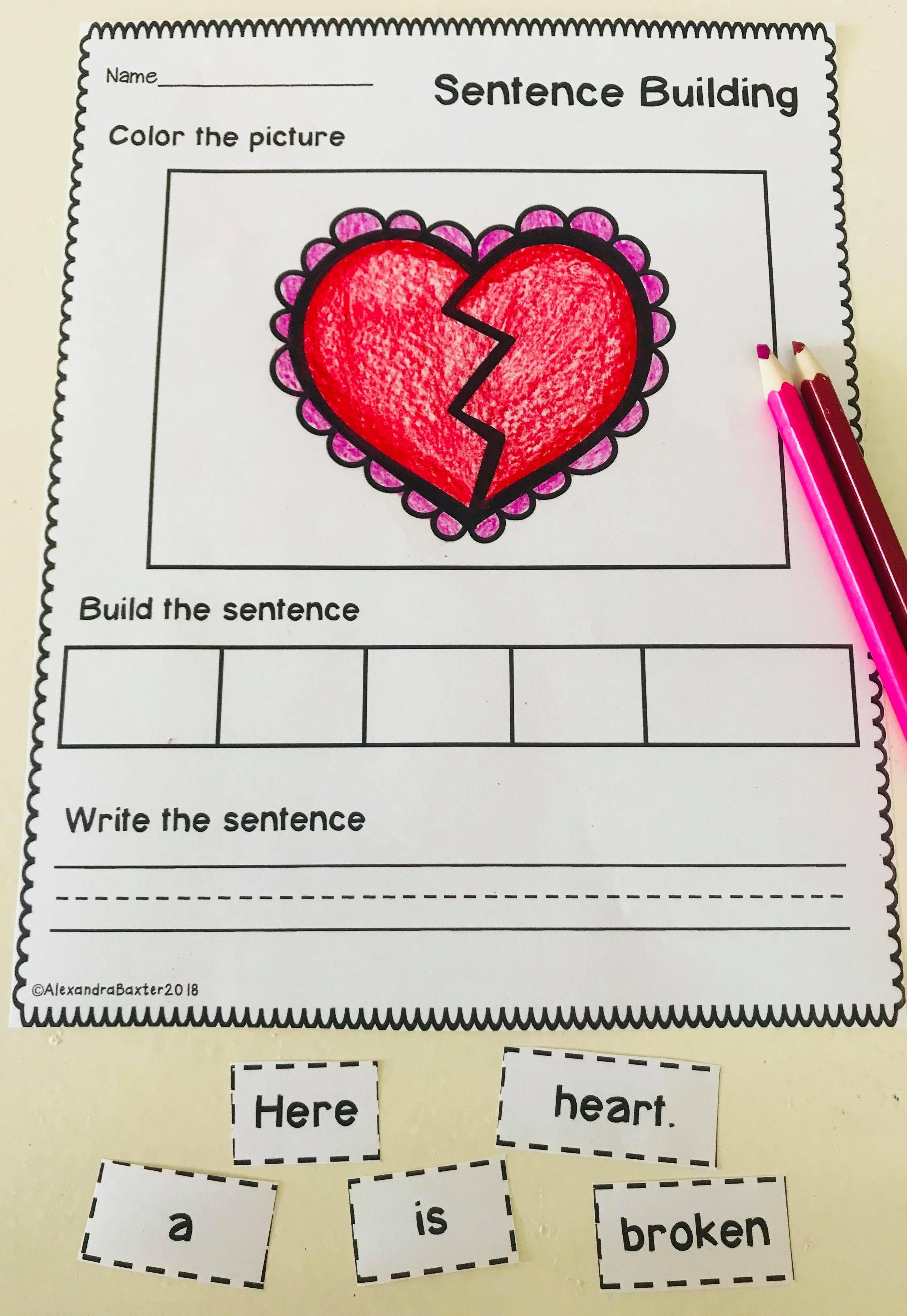 Valentine S Day Sentence Building