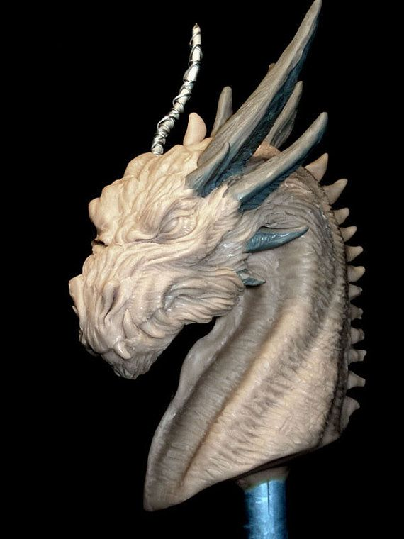Serious Dragon original concept sculpt bust by Creaturae on Etsy