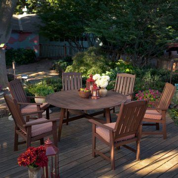 Really Nice Wood Round Patio Dining Table And Chairs Set. Great Price And  Free Shipping