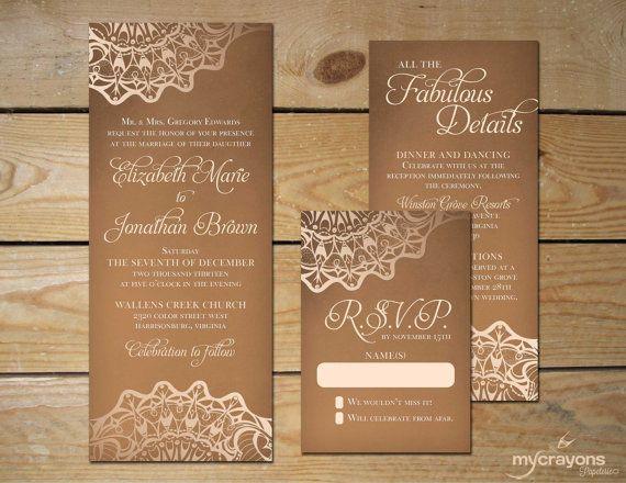 Burlap Lace Wedding Invitation Set by MyCrayonsPapeterie DIY