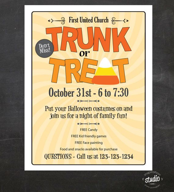 Trunk or Treat Halloween Event Flyer by jjinspirationstudio - fall flyer