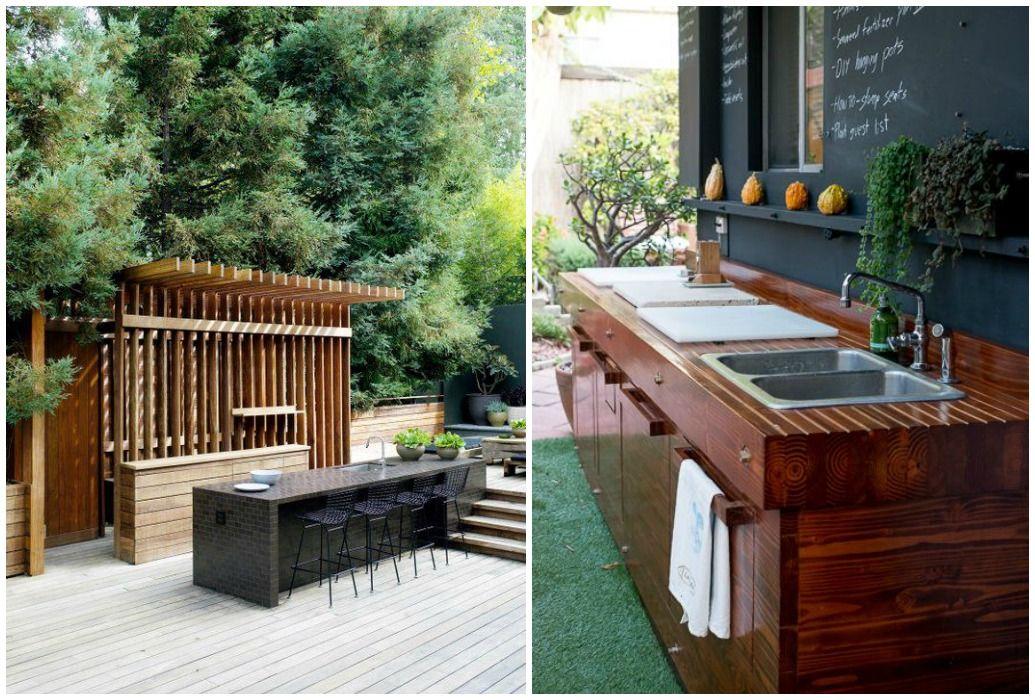 03 cocina exterior jardin madera diseno s pinterest for Fregaderos para jardin