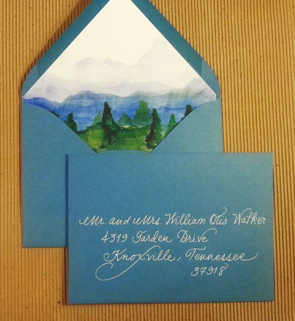 """Swooning over this liner.  My white """"fancy script"""" on blue envelopes. Calligraphy by Carrie"""