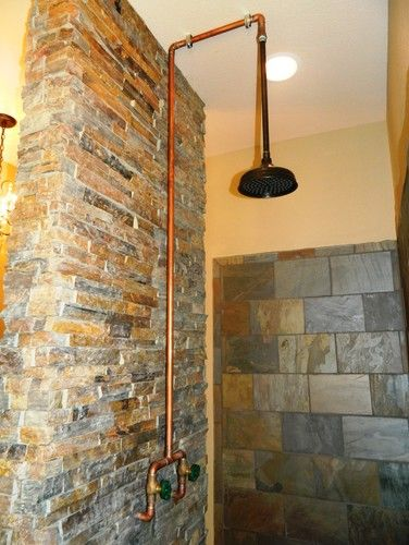 Image Detail For Exposed Copper Shower Design Pictures Remodel Decor And Ideas Shower Fixtures Rustic Shower Rustic Bathrooms