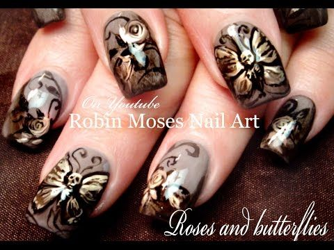 Butterfly Nails   Skeleton Butterflies & Roses Nail Art Design Tutorial - YouTube