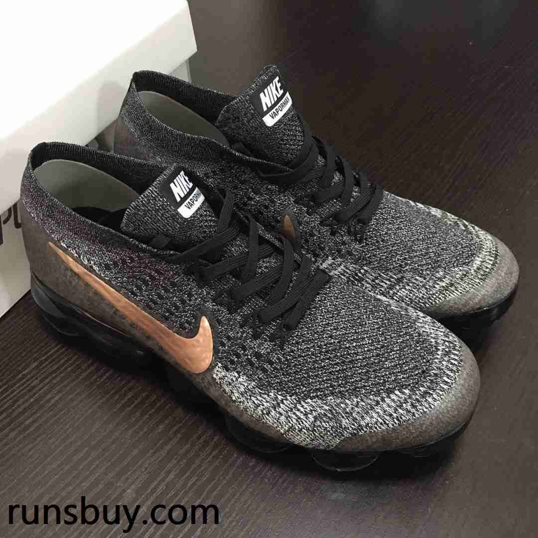 Hot Nike Air VaporMax 2018 Flyknit Black Gray Gold Tick  0d17bae2b