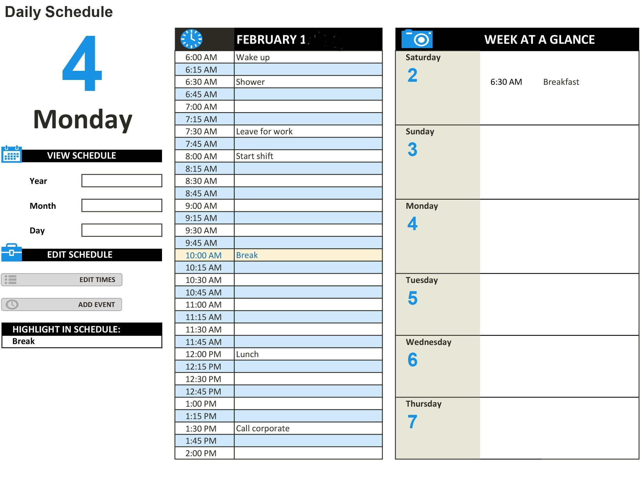 Track Your Daily And Weekly Tasks Easily Using This Interactive Schedule Template Add Events To T Daily Schedule Template Schedule Template Daily Work Planner