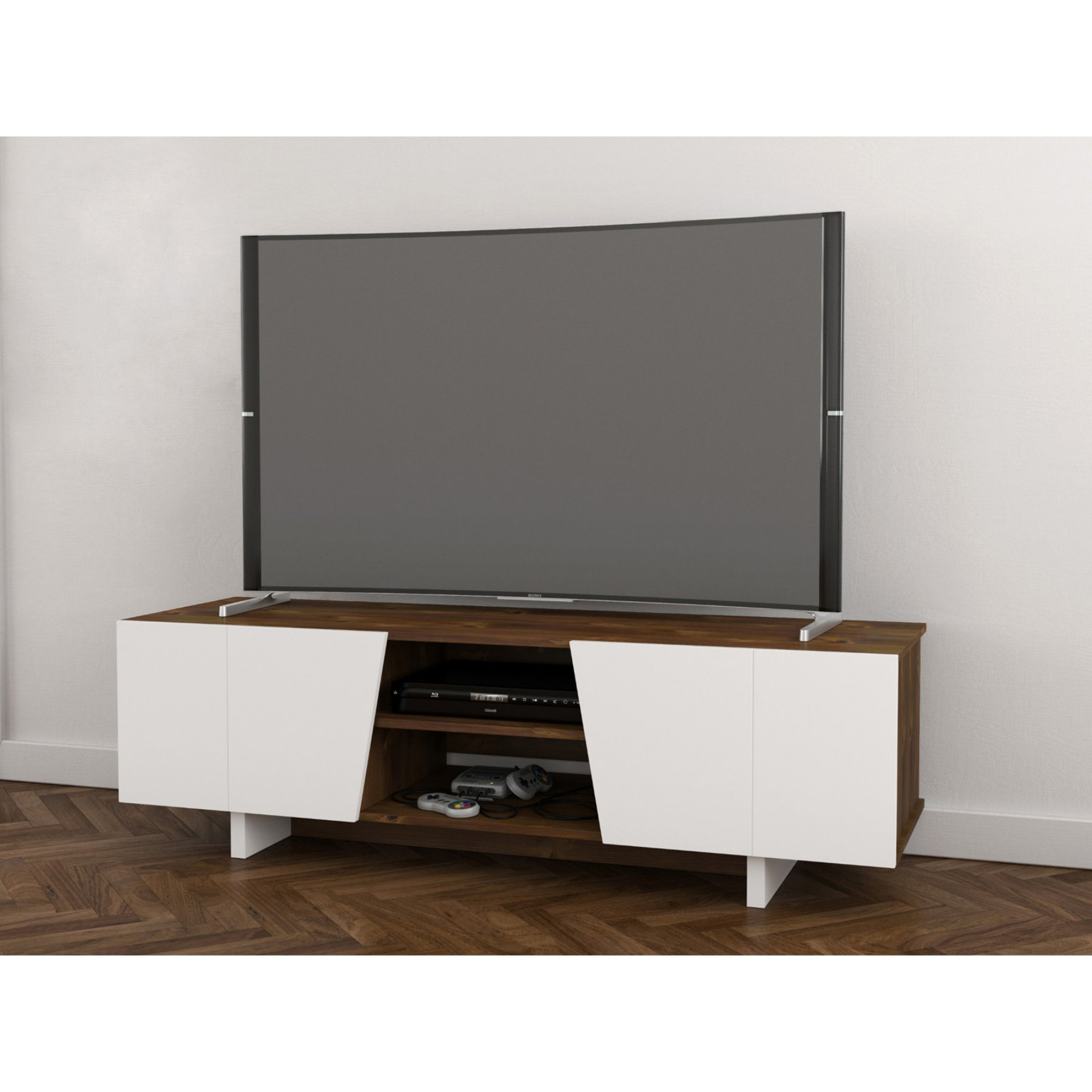 Nexera Oblik Tv Stand  Truffle And White  113046