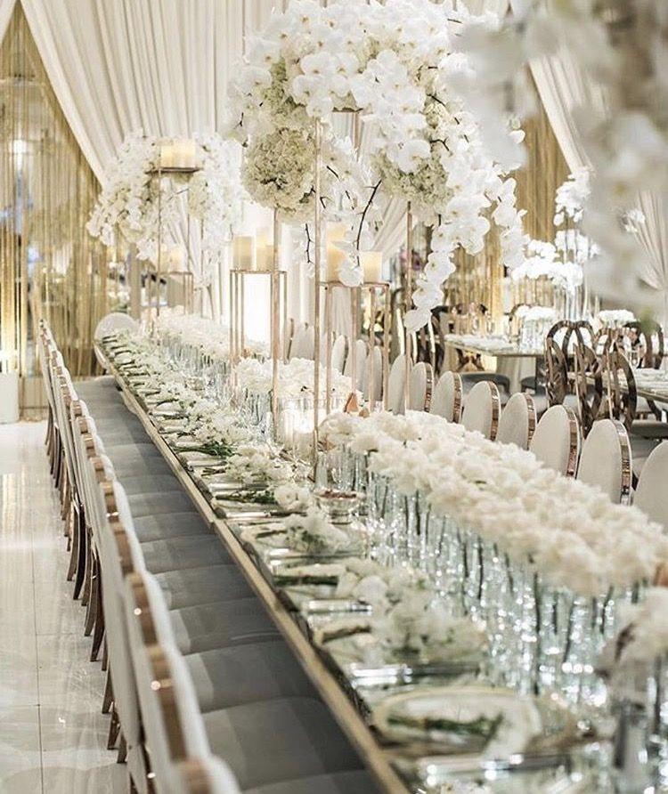 Luxury All White Wedding Reception Decor White Wedding Decorations Wedding Decorations Luxury Wedding Decor