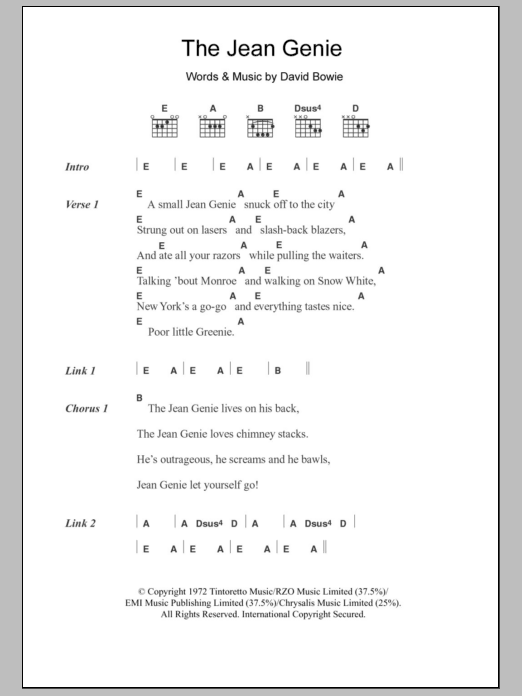 The Jean Genie by David Bowie - Guitar Chords/Lyrics - Guitar ...