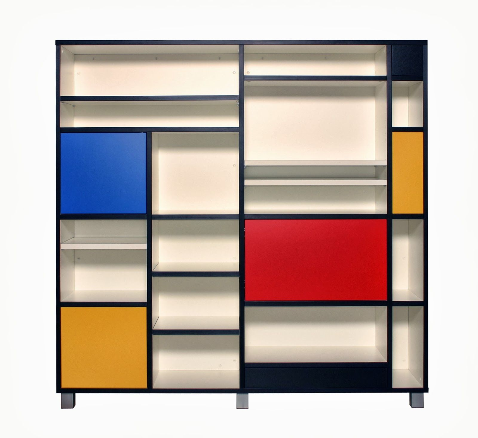 Designing Home Page Layout Mondrian Inspired Bookcase Dedicated To De Stijl