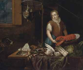 G. VAN DIEST (ANTWERP 2ND HALF 17TH CENTURY) A MAID IN A KITCHEN INTERIOR, A LOBSTER ON A PLATTER, DEAD BIRDS, FISH, ASPARAGUS, A DOG AND A CAT