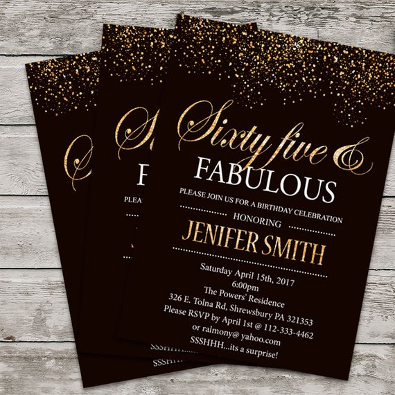 Sixty Five Birthday Invitation PRINTABLE 65th Invite Gold Glitter