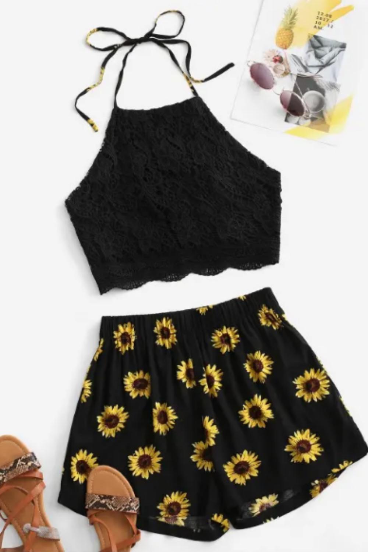 Crochet Lace Sunflower Halter Two Piece Set - Black