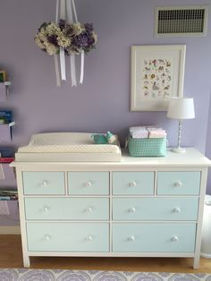 Ikea Hemnes Dresser (painted Of Course) And Hand Painted Flowers On  Unfinished Wooden Knobs.