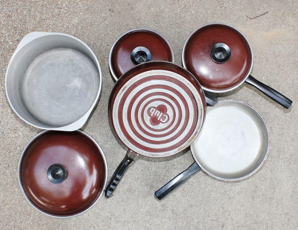 Vintage Lot 8 Piece Brown Club Cookware Roaster Dutch Oven Pots Pan Lids