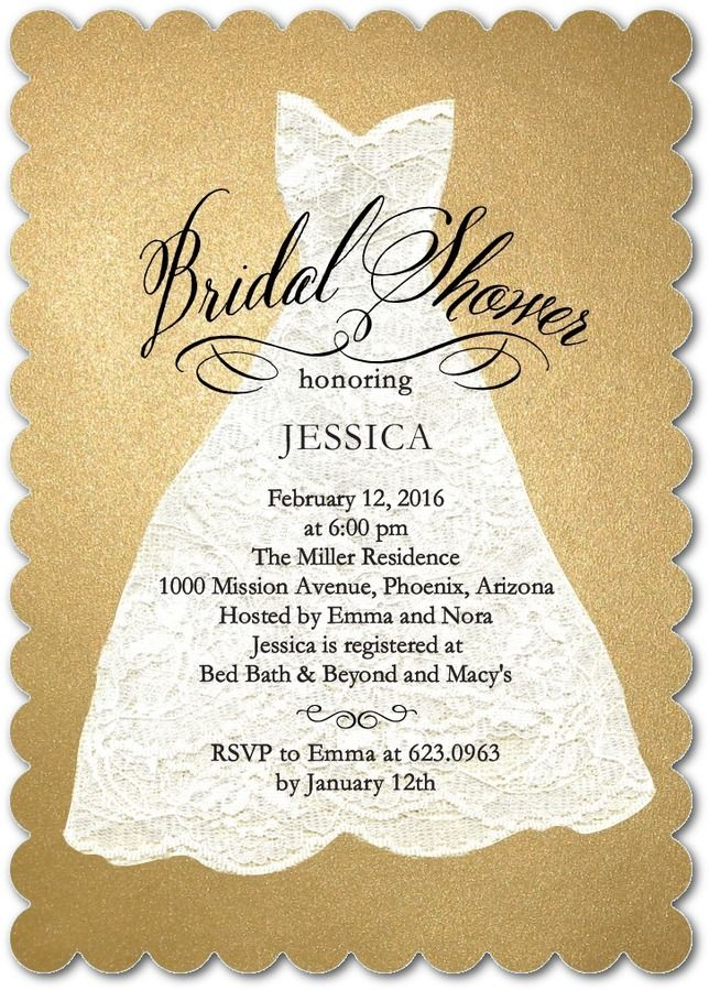Glitter and Lace - Signature White Bridal Shower Invitations in Umber or Creamy Beige   Coloring Cricket