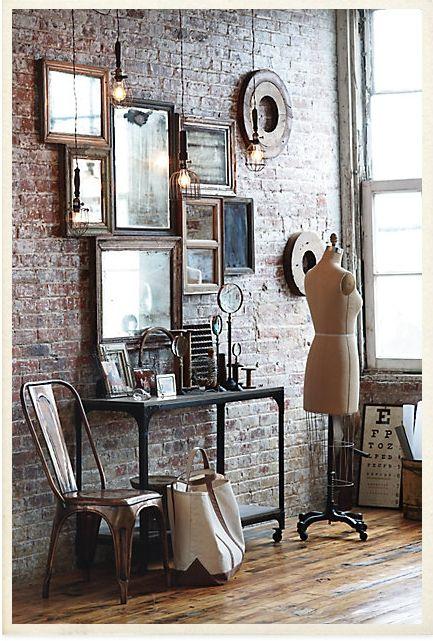 Mirror. Frame. Wall. Vintage. Dress Form. Fashion. Home Decor. Brick. Studio.