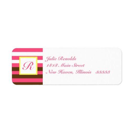 Striped Return Address Label with Monogram