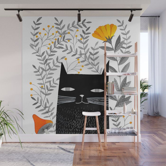 Black Cat With Botanical Illustration Wall Mural b