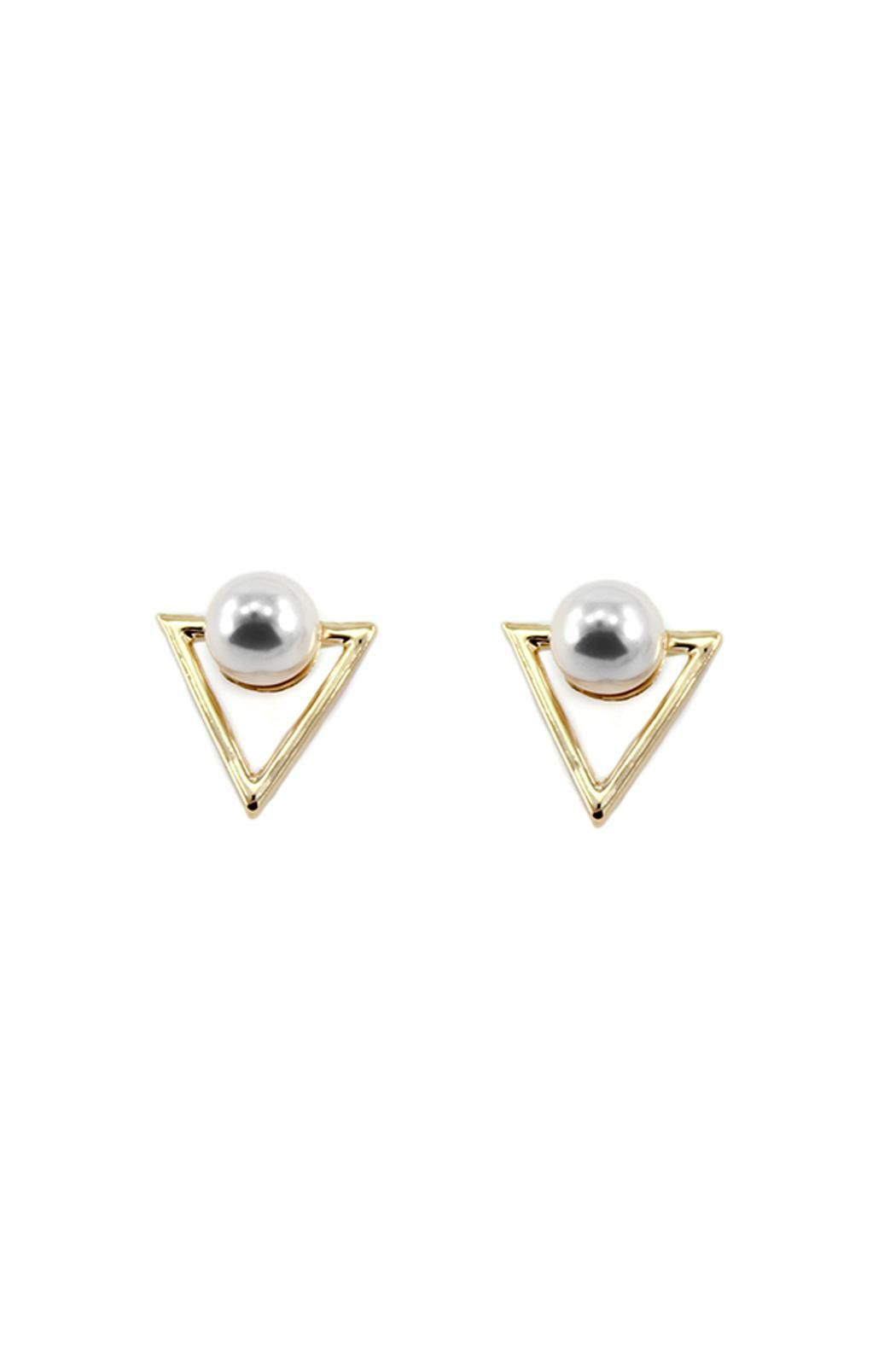 Adorable Gold Triangle With Pearl Stud Earrings Stainless Steel Earring Post Hypoallergenic