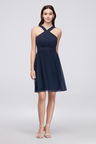 d7ac9a79a3ac A Y-neckline, defined waist, and pleated skirt add flattering,  party-perfect details to this short chiffon bridesmaid dress. Reverie,  exclusively at David's ...