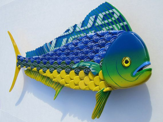 Mahi Mahi Fish Art Bottlecap Metal Wall Dolphin Fish Beer Cap Crafts Bottle Cap Crafts Beer Cap Art