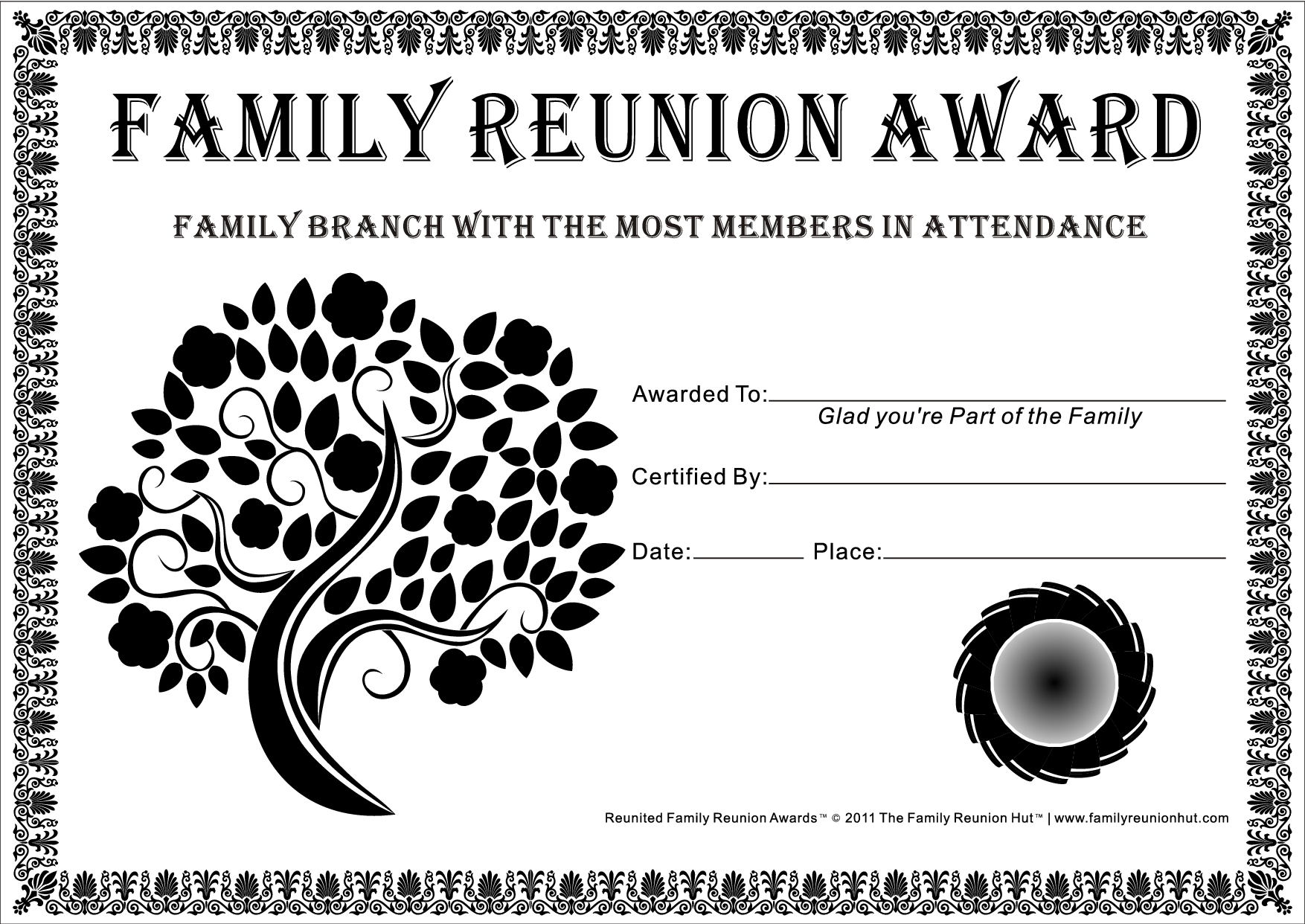 Légend image for free printable family reunion certificates
