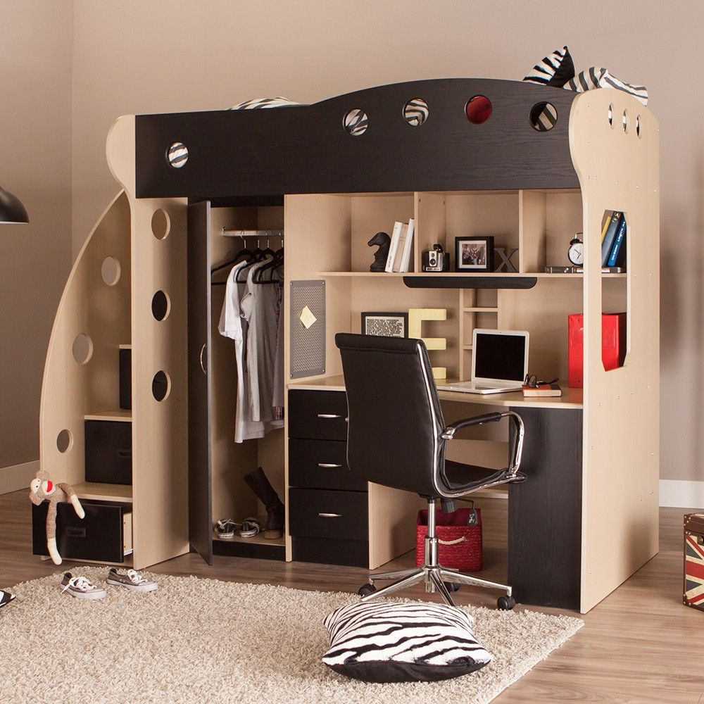 NIKA Loft Bed Maple Black NIKA