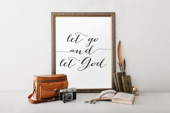 Bible let go and let god christian wall art bible verse art modern