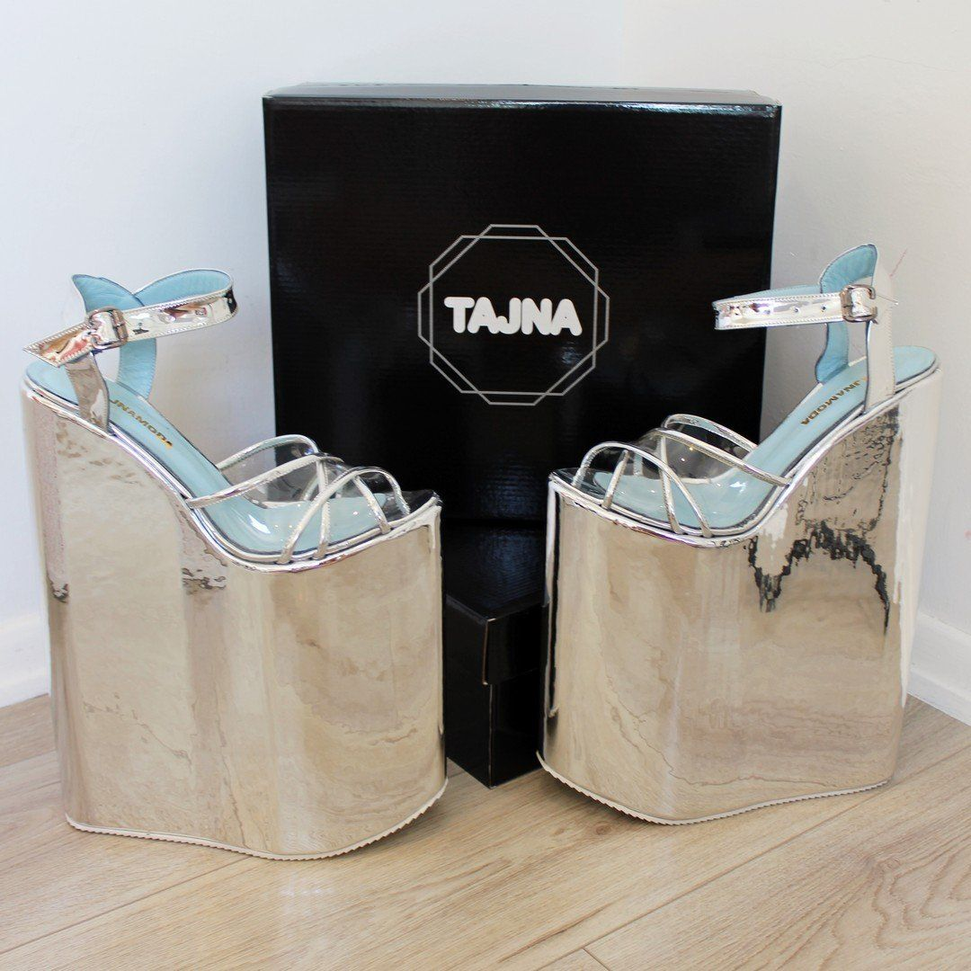ce8a8534f64e 30 cm Silver Super High Heel Show Mega Platform Shoes – Tajna Club