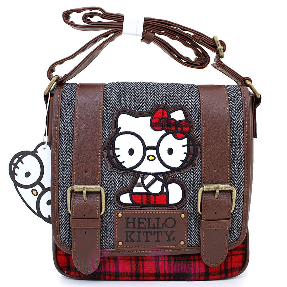 1295c0e237f4 Sanrio Hello Kitty Messenger Cross Body Bag with Nerd Glasses Red Bow  Loungefly