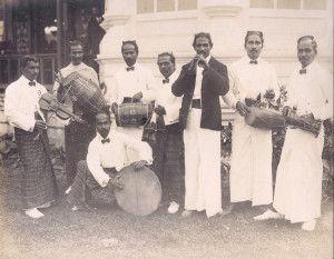 """Singalese Musicians, Ceylon Exhibit."" 1904 World's Fair."