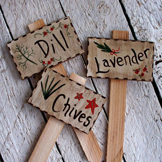 Rustic Garden Decor, Indoor Herb Garden Markers, Garden Labels, Hand Painted Garden Signs, Plant Tags, Plant Labels#decor #garden #hand #herb #indoor #labels #markers #painted #plant #rustic #signs #tags
