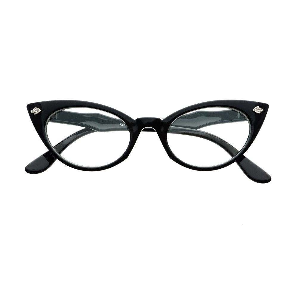 Vintage Fashion Cool Arms Clear Lens Cat Eye Glasses